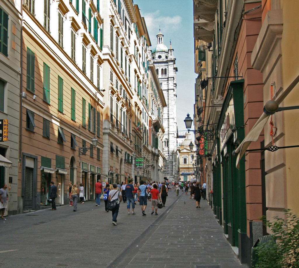 This is the street I'll stay on for six days in Genoa, Italy. I'll travel for much of the day on Epiphany, and will leave the following Saturday night for a 20-hour ferry to Barcelona, on the 12th of December. Genoa is reknown for great seafood and white wine. Photo from Wikimedia by user Jensens.