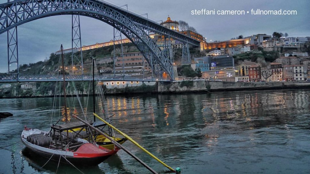 Moody Porto. I love this stunning bridge. Across the river are the port wine lodges/caves that have made Porto famous.