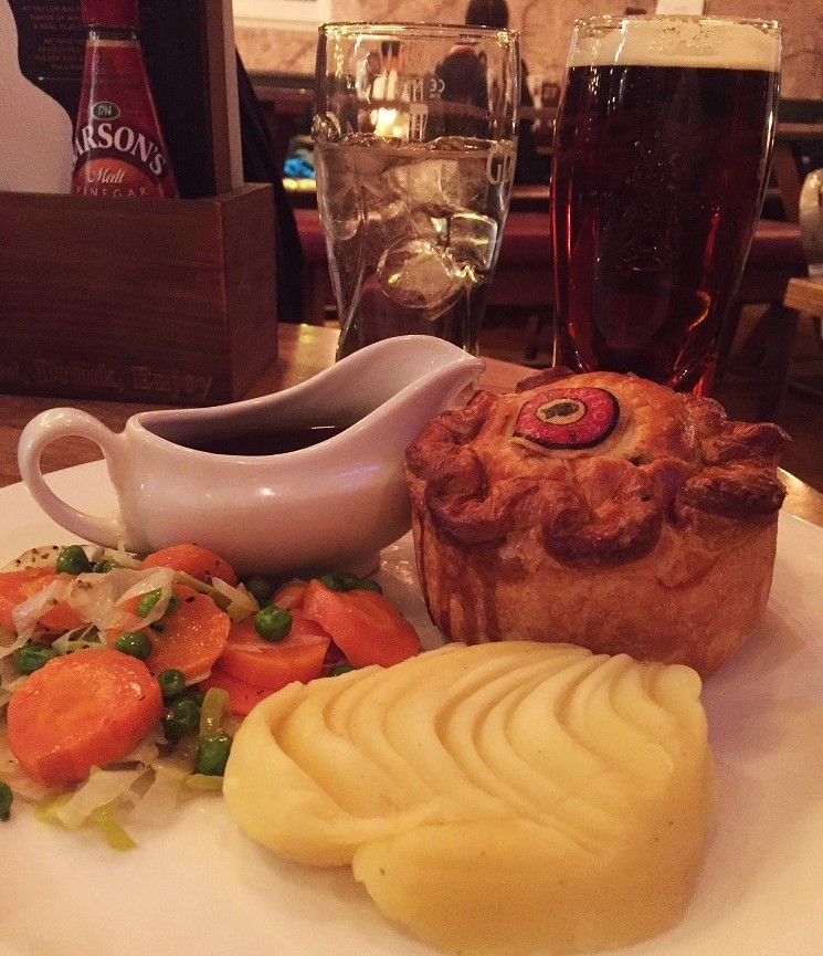 Steak and ale pie! Ale! Civilized life, finally! So good after such bad travel.