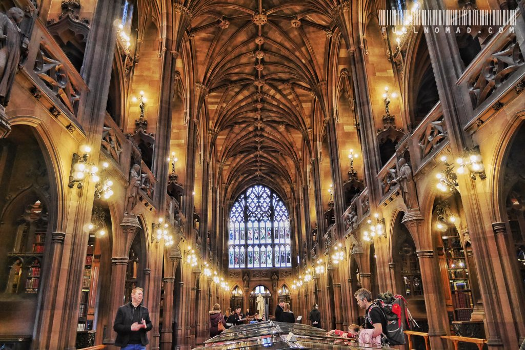 Rylands Library was built by the widow, Enriqueta, who did it as a tribute to her departed husband and gave it to the city. It is a spellbinding place to sit and read or write.