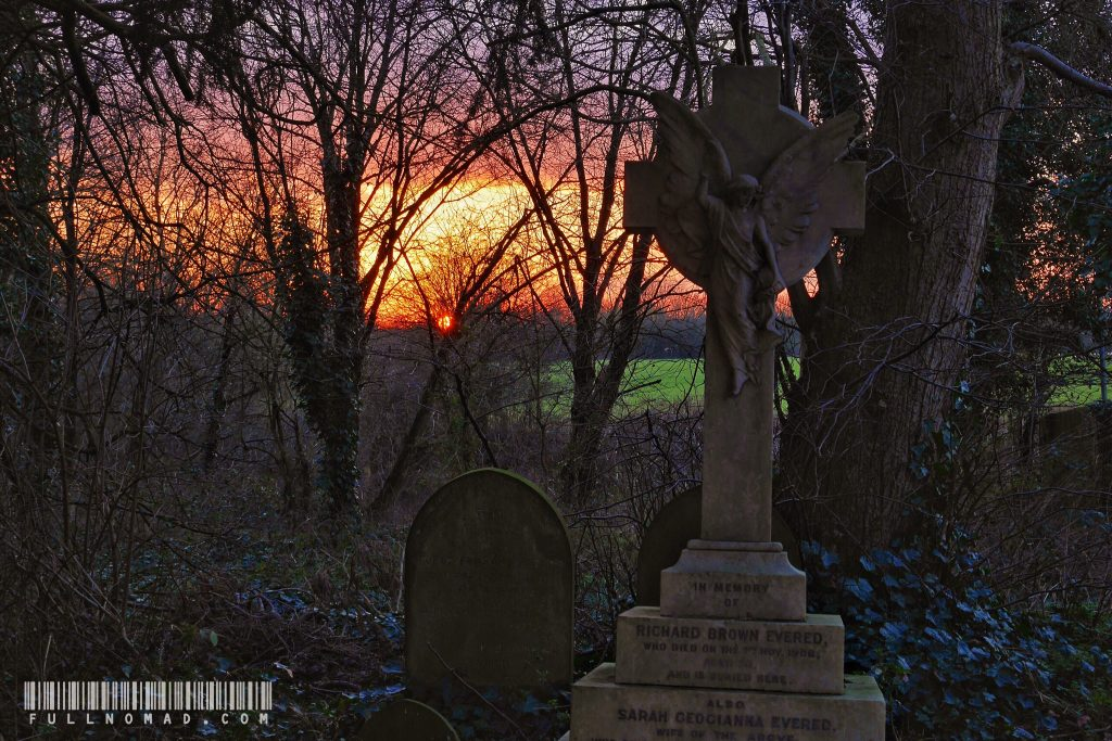 A gravestone in a churchyard and a sunset. Sometimes it doesn't take a lot to feel like I'm living a charmed life.