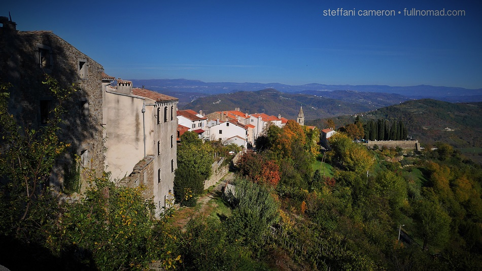 The hillside on Motovun in autumn. These homes are as old as 800 years old, some of them.