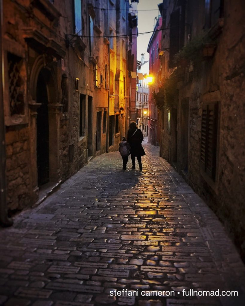 Nightfall in off-season Rovinj. In summer, these streets are literally packed with thousands. Being there for empty streets and contemplative days was a gift.