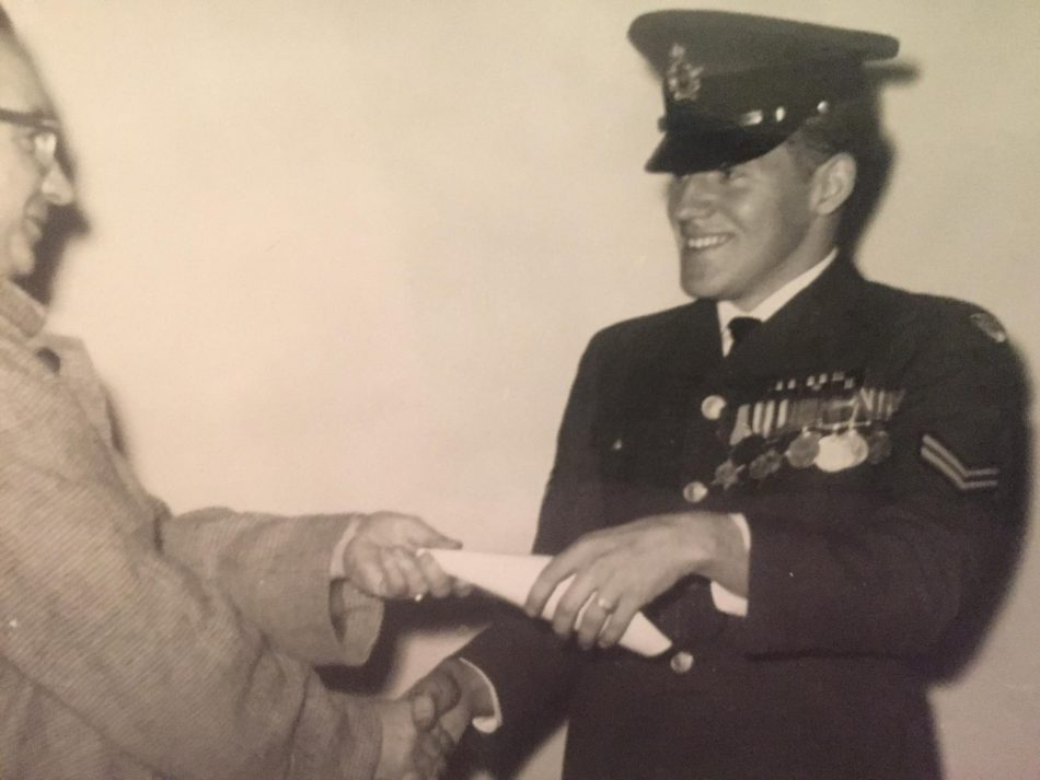 My dad upon receiving his papers for becoming Second Lieutenant in the Canadian Air Force reserves.