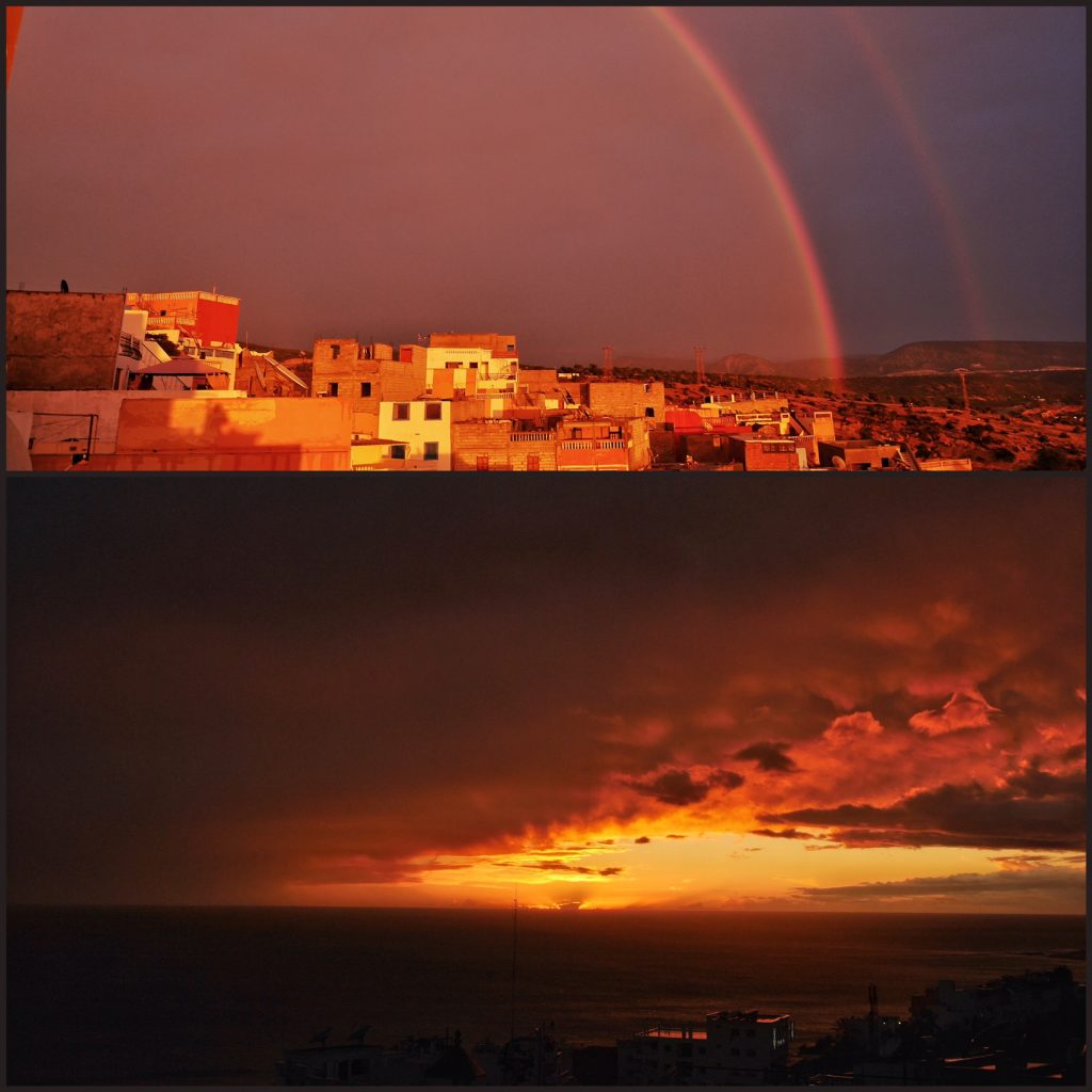 This was the weather yesterday. Incredible sunset with skies only JUST parting after a torrential rain, and a double rainbow opposite. Yes, it really was this red/gold. It was just... wow.