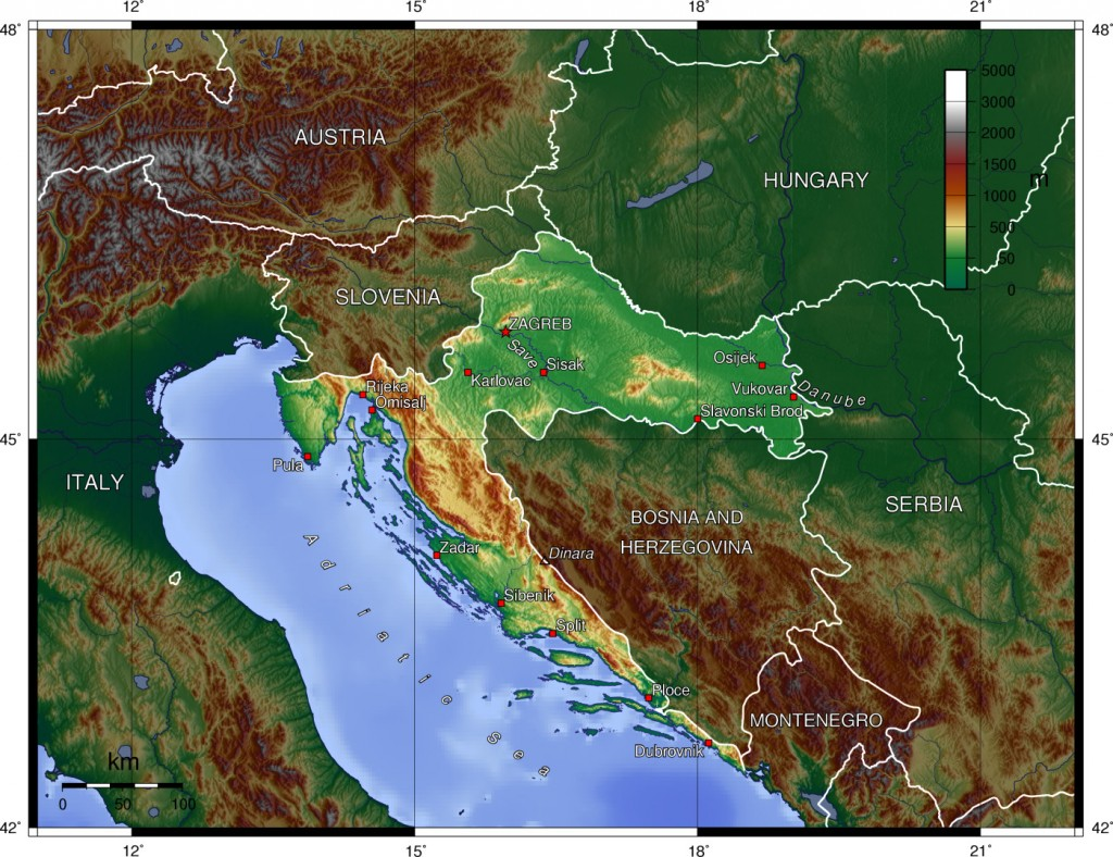 Topographical map of Croatia by Wikipedia user Captain Blood.