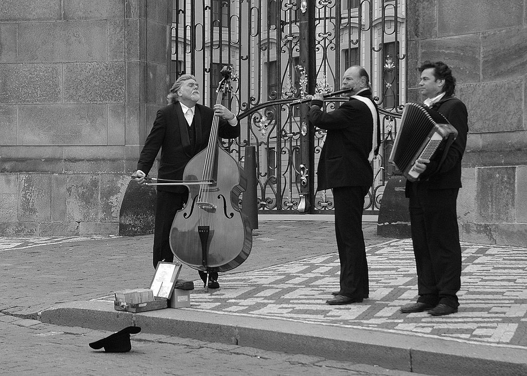Street musicians in Prague. Photo by Keith Page, Wikicommons.