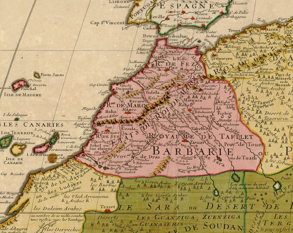"Map of the ""Kingdom of Fez,"" Morocco, dating from 1707. Source: Wikipedia."