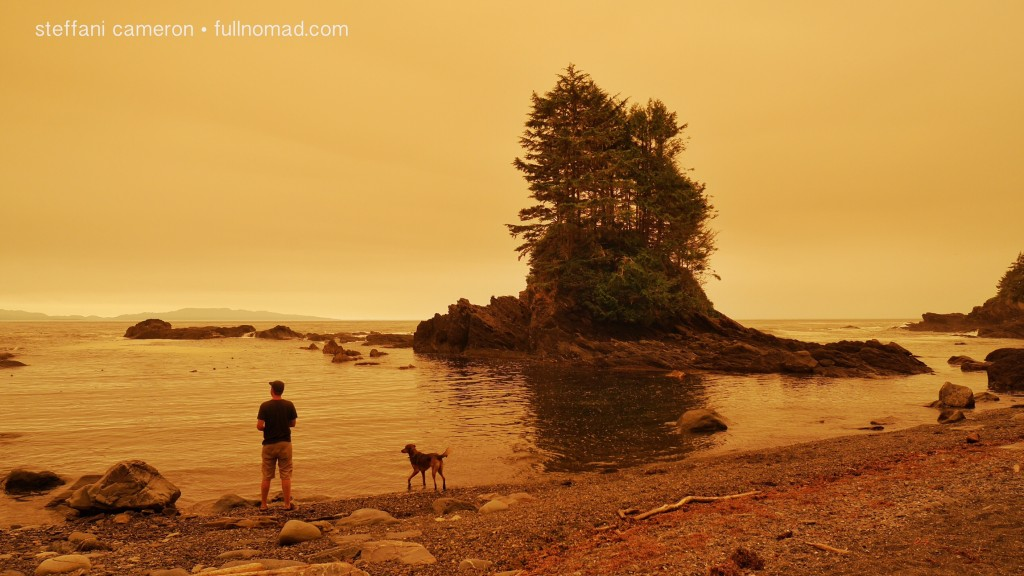 "One of my only other ""leisurely"" days of travel this year, except for the black fly who flew up my shorts and took a bite out of my thigh and made the hiking excruciating. Thanks, nature! This was during the worst of the forest fire smoke on the island this season, in Botany Bay, BC."