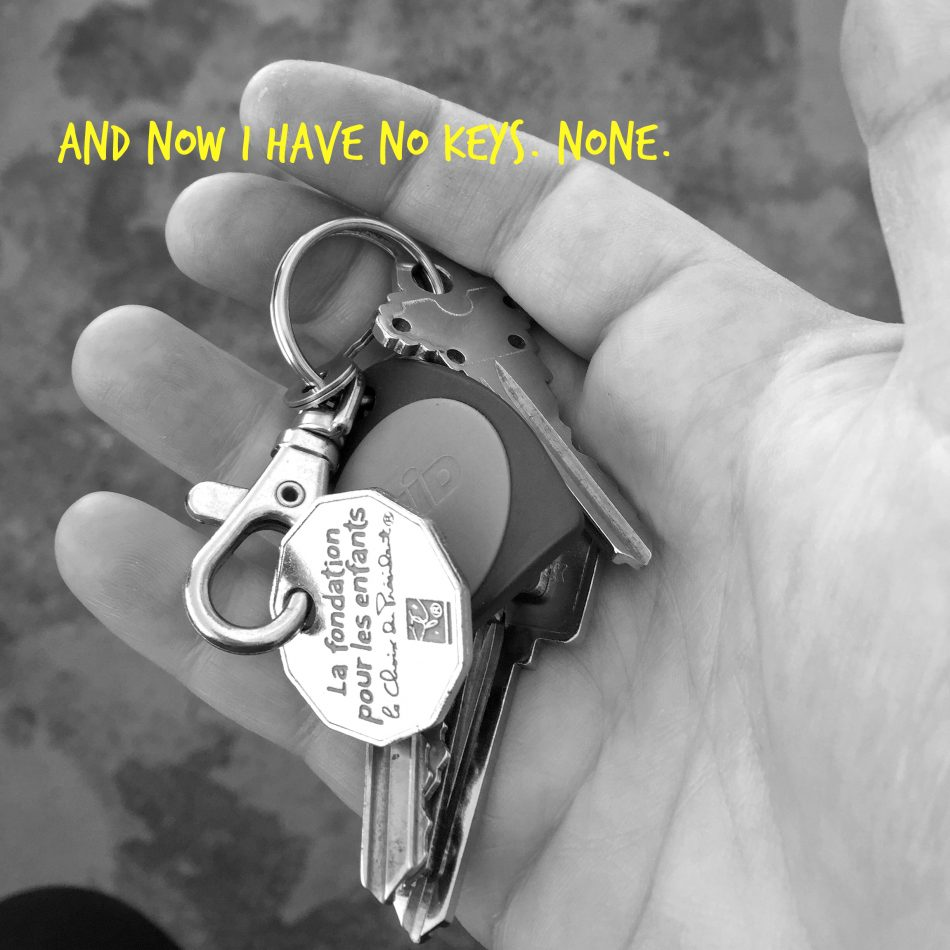 This was the last time I owned keys, the day I turned them into my landlord. I always said the number of keys you have corresponds to how complicated your life is, but I was wrong. Not having any can be pretty complicated too, just differently.