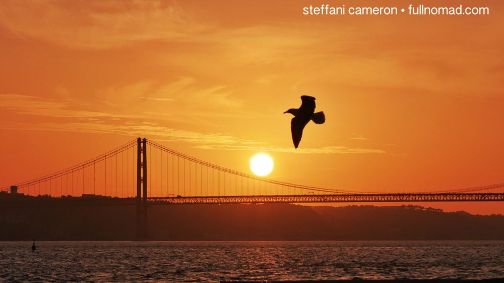 Sunset over the Tagus or Tejo river.