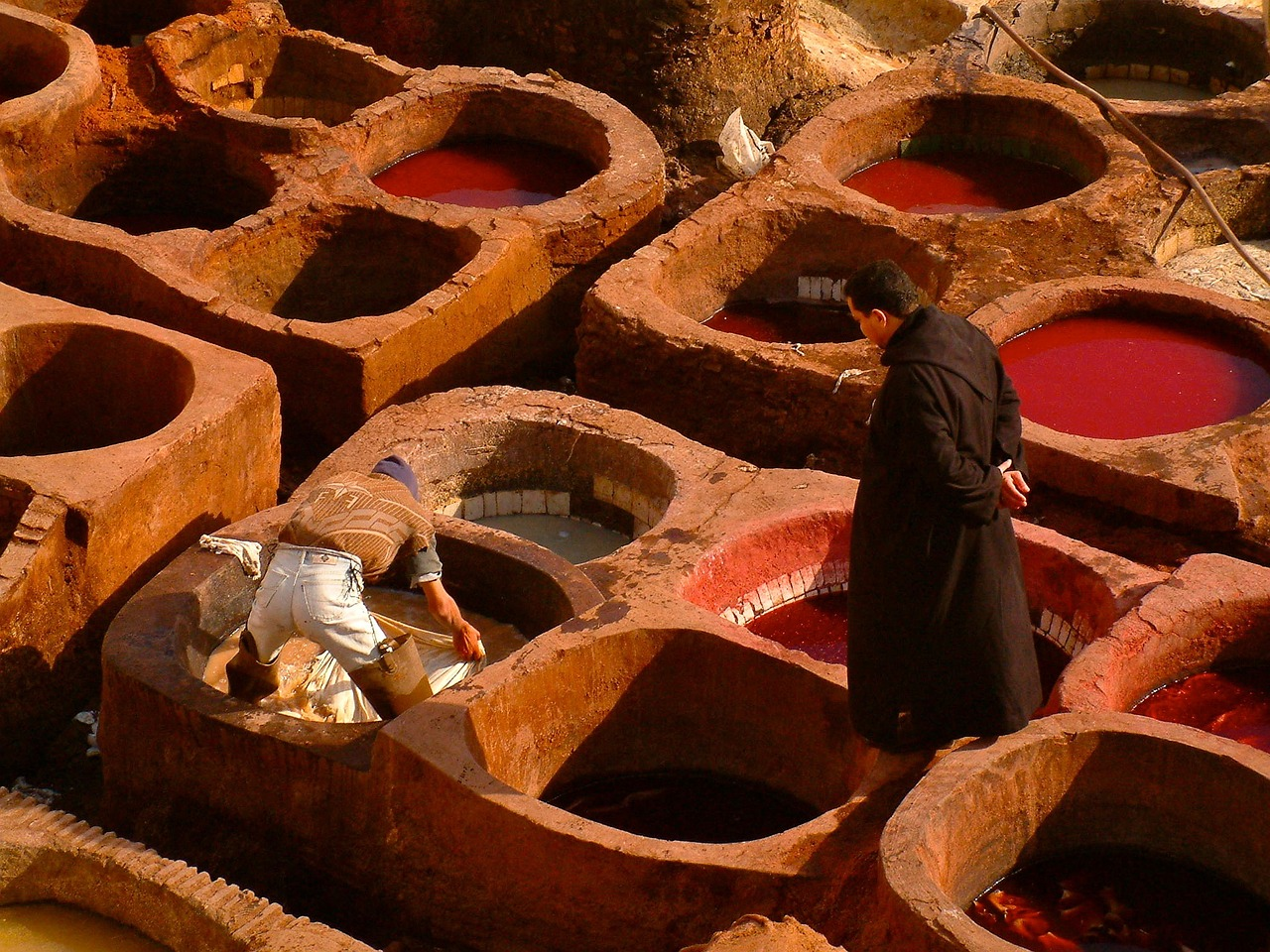 Moroccan leather tanners in Fez. Creative Commons image.